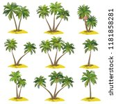 set of palm trees  coconut ... | Shutterstock .eps vector #1181858281