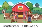 cartoon farm with farmers  cow... | Shutterstock .eps vector #1181861677