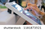 woman using interactive... | Shutterstock . vector #1181873521