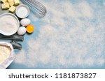 baking background. flour  white ... | Shutterstock . vector #1181873827