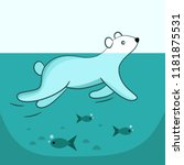 cute polar bear swimming in... | Shutterstock .eps vector #1181875531