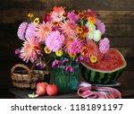 autumn still life with a... | Shutterstock . vector #1181891197