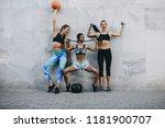 happy women in fitness clothes...   Shutterstock . vector #1181900707