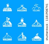 volcano logo icons set. simple... | Shutterstock .eps vector #1181908741