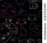 abstract seamless cats pattern. ... | Shutterstock .eps vector #1181912194