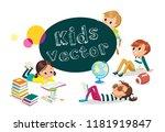 pupils. children having rest.... | Shutterstock .eps vector #1181919847