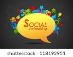 illustration of social networking icon coming out from chat bubble - stock vector