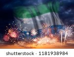 holiday sky with fireworks and... | Shutterstock . vector #1181938984
