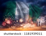 holiday sky with fireworks and... | Shutterstock . vector #1181939011