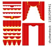 curtains with lambrequins on... | Shutterstock .eps vector #1181939941