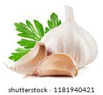 garlic with leaf isolated on... | Shutterstock . vector #1181940421