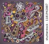 cartoon vector doodles disco... | Shutterstock .eps vector #1181942887