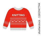 vector illustration red sweater ... | Shutterstock .eps vector #1181947744