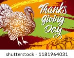 thanksgiving day  holiday... | Shutterstock .eps vector #1181964031