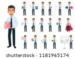 business man  set of eighteen... | Shutterstock .eps vector #1181965174