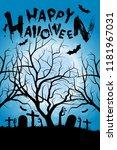 halloween background with tree. ... | Shutterstock .eps vector #1181967031