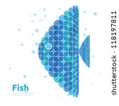 Blue sea fish with bubbles on white background