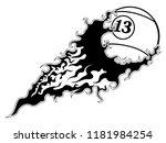 billiard ball with an effect... | Shutterstock .eps vector #1181984254