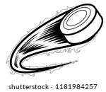 hockey puck with an effect icon.... | Shutterstock .eps vector #1181984257