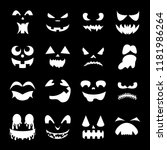 pumpkin faces on a black... | Shutterstock .eps vector #1181986264
