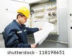 electrician builder at work... | Shutterstock . vector #118198651