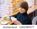 a portrait of a woman with a... | Shutterstock . vector #1181989477