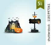 halloween icons. ghosts flying... | Shutterstock .eps vector #1181997061