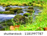 mountain stream among the mossy ... | Shutterstock . vector #1181997787