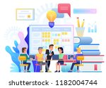 strategy planning meeting. team ... | Shutterstock .eps vector #1182004744