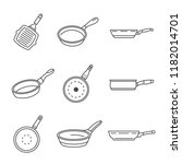 griddle pan icon set. outline... | Shutterstock .eps vector #1182014701