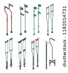 crutches icon set. isometric...   Shutterstock .eps vector #1182014731