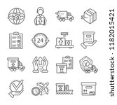 parcel dellivery icon set.... | Shutterstock .eps vector #1182015421