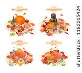 thanksgiving day banner set....   Shutterstock .eps vector #1182015424