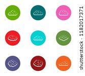 fluffy cloud icons set. flat...   Shutterstock .eps vector #1182017371