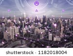 internet of things connections... | Shutterstock . vector #1182018004