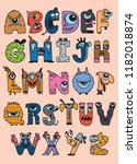 halloween alphabet with funny... | Shutterstock .eps vector #1182018874