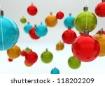 render of a colorful background of christmas balls - stock photo