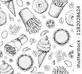 fast food. menu seamless... | Shutterstock .eps vector #1182028624
