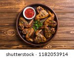 hot bbq . grilled chicken wings ... | Shutterstock . vector #1182053914