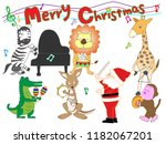 christmas concert at the zoo.... | Shutterstock .eps vector #1182067201