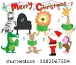 christmas concert at the zoo.... | Shutterstock .eps vector #1182067204