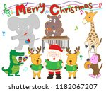 christmas concert at the zoo.... | Shutterstock .eps vector #1182067207