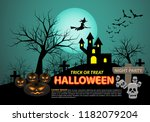 happy halloween on green moon... | Shutterstock .eps vector #1182079204