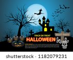 happy halloween on blue moon... | Shutterstock .eps vector #1182079231