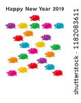 new year card with colorful... | Shutterstock .eps vector #1182083611