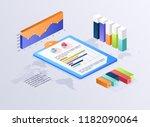 flat 3d isometric infographic... | Shutterstock .eps vector #1182090064