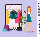 girl make shopping online from... | Shutterstock .eps vector #1182090097