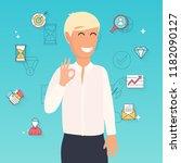 man is showing a gesture okay.... | Shutterstock .eps vector #1182090127