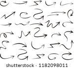 set of arrow hand drawn design...   Shutterstock .eps vector #1182098011