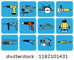 electro driven tools  power... | Shutterstock .eps vector #1182101431